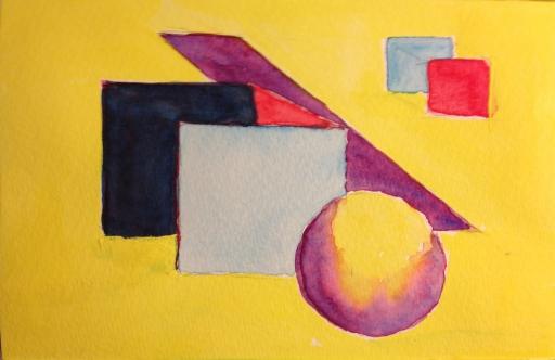 Watercolor Sketch - Abstract Spatial Elements in Color