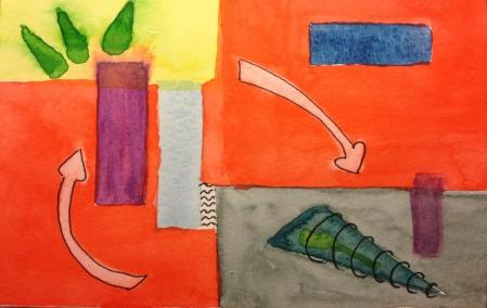 Watercolor Sketch - Abstract Doodle 5-28-14