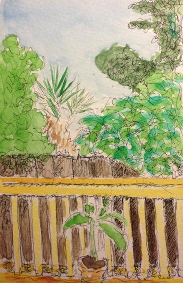 Watercolor Sketch - Backyard Scene, Pen and Ink, Watercolor