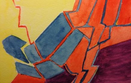 Watercolor Sketch - Abstract Jagged Space #1