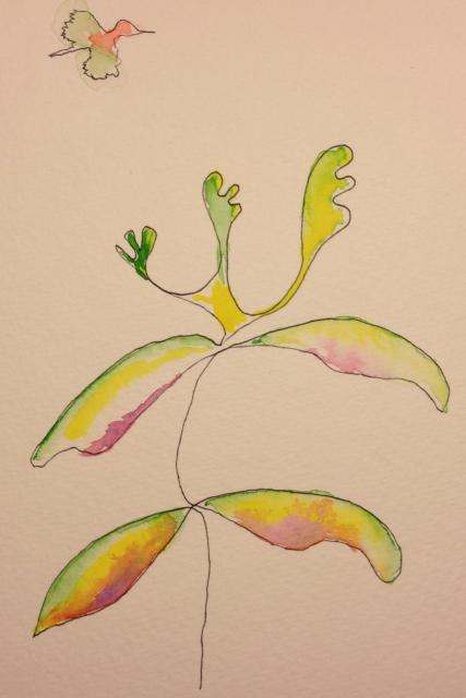 Watercolor Sketch - Arthur and Bird