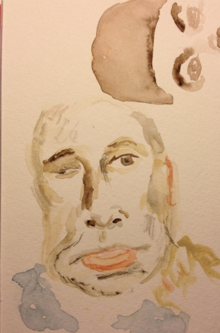 Watercolor Sketch - Portrait of Brother Mike and Me