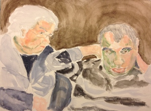 Watercolor Painting - Mother and Adult Child