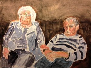 Watercolor Painting - Portrait of Mom and Mike Holding Hands