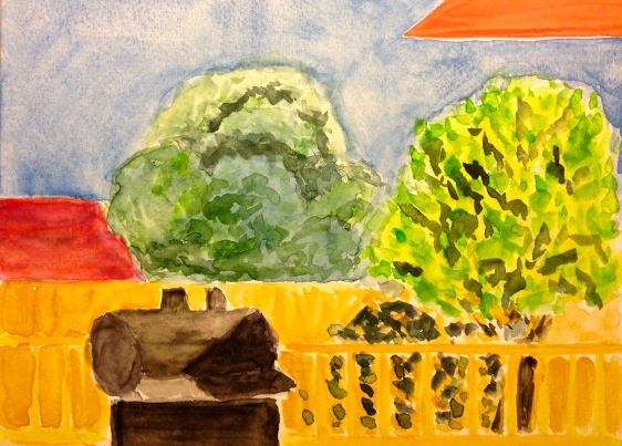 Watercolor Painting - View of Back Yard