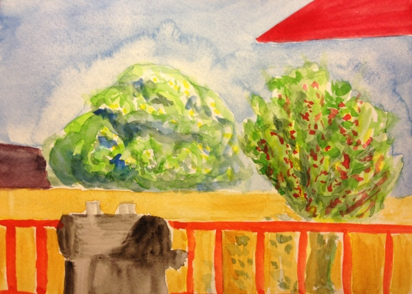 Watercolor Painting - View of Back Yard Take 2
