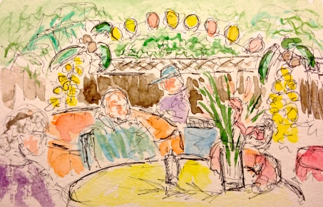 Watercolor Pen and Ink Sketch of Graduation Party
