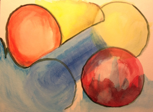 Watercolor Sketch - Abstract: Spheres