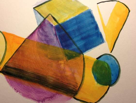 Watercolor Sketch - Abstract Geometrical Solids
