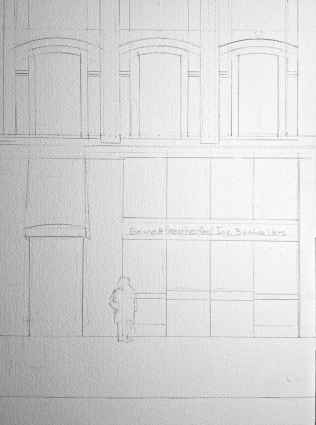 Pencil Sketch - Study for B & W Bookseller Watercolor