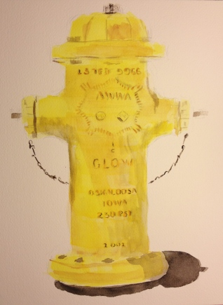 Watercolor Sketch - Los Gatos Fire Hydrant