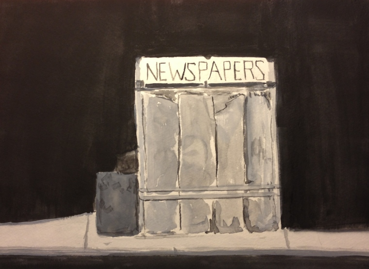 Watercolor Study - News Stand in Black and White Watercolor