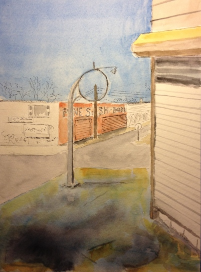 Watercolor Study - 14th Avenue, Brooklyn. The Pine Sash and Door Lumber Co.