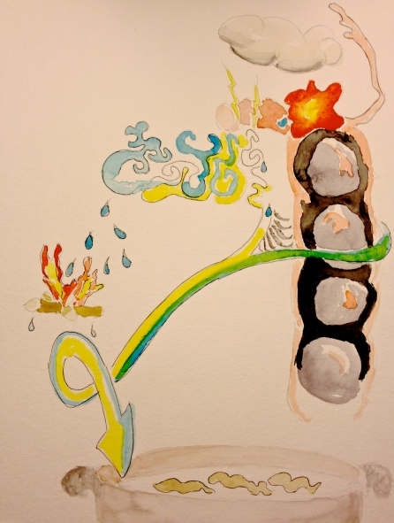 Watercolor Sketch - Abstract: Pot of Oatmeal