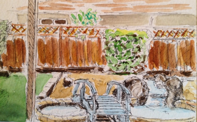 Watercolor Sketch - New Back Yard