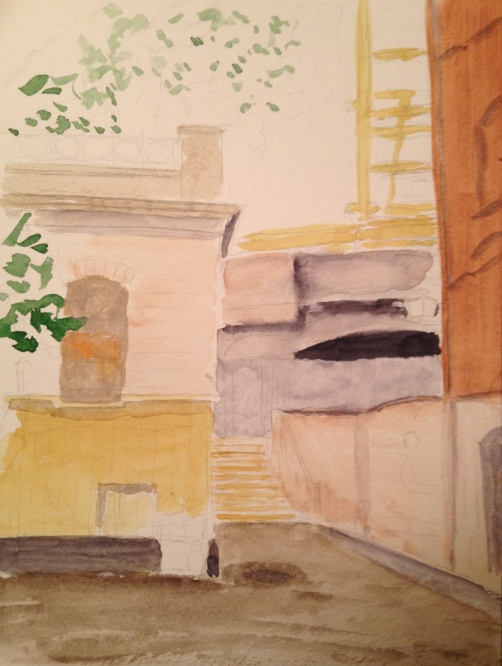 Watercolor Sketch - Tilted House in London - Start of Watercoloring