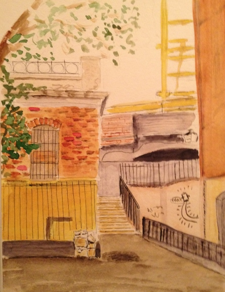 Watercolor Sketch - Tilted House in London - Watercolor Second Pass
