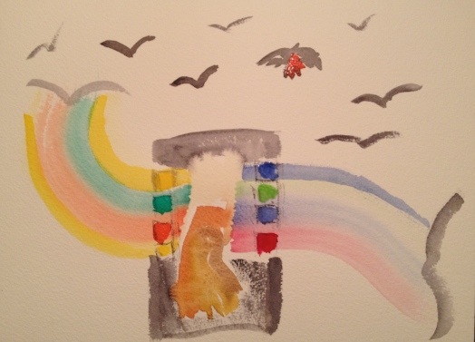 Watercolor Sketch - Crows and Paintbox