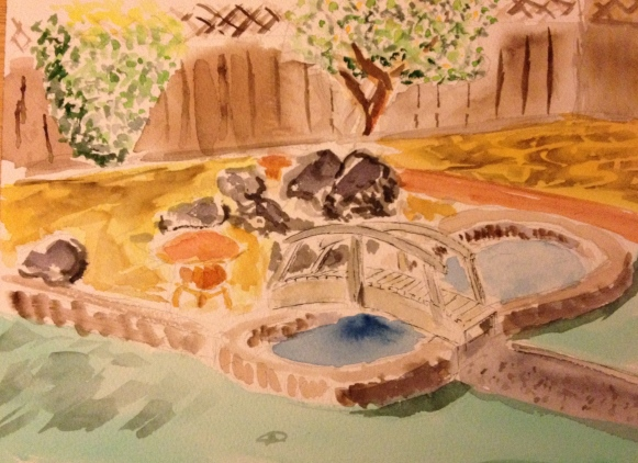Watercolor Sketch - Back Yard with Fountain