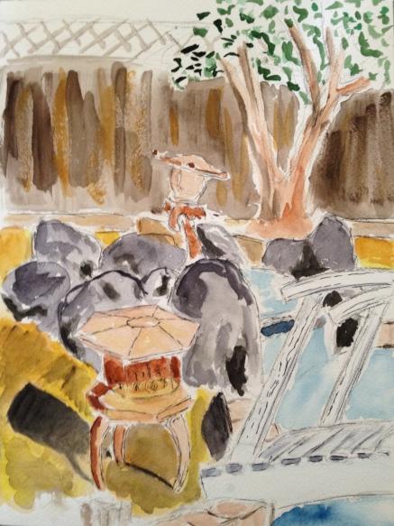 Watercolor Sketch - Rock Garden and Pool in Back Yard