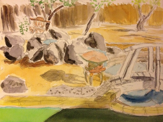 Watercolor Sketch - Another View of Rock Garden in Back Yard