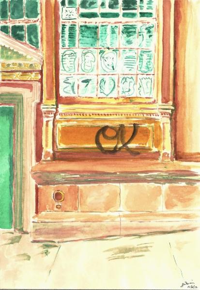 Watercolor Study - Green Door and Graffiti