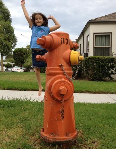 Digital Photo - Burbank Fire Hydrant + Sidra Jumping