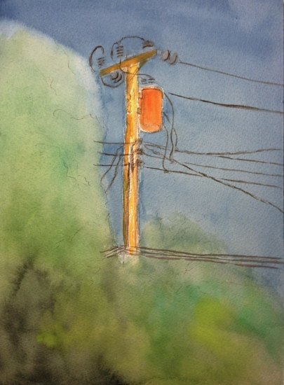 Watercolor Sketch - Telephone Pole with Orange Condenser