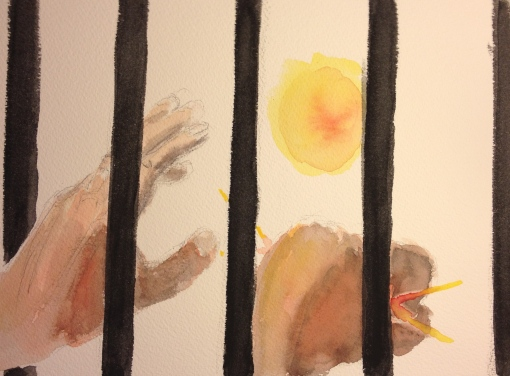 Watercolor Sketch - Extended Hand, Fist; Reach and Grasp