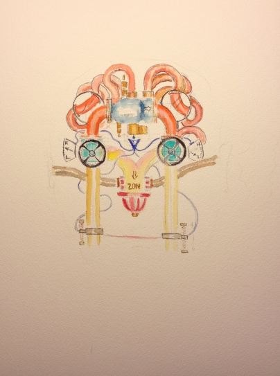 Watercolor Sketch - Skeleton - Surrealistic Portrait with Pipes