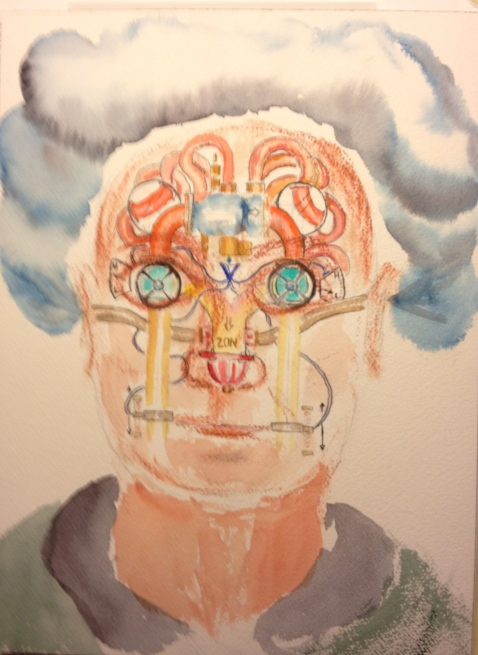 Watercolor Sketch - Surrealistic Portrait with Pipes