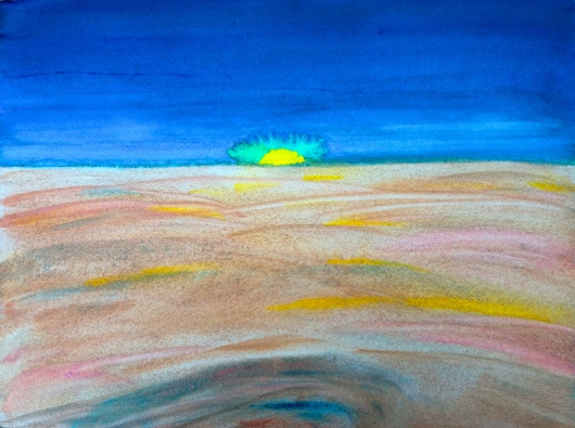 Watercolor Sketch - Alien Sunset