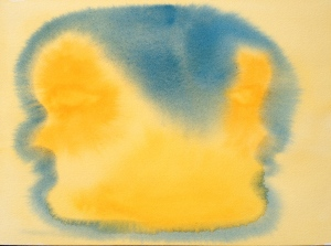 Watercolor - Abstract: Yellow Background Blue Outline of Two-Faced Janus
