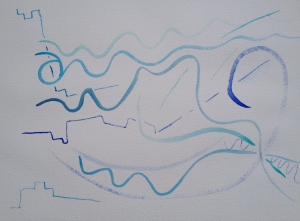 Watercolor Step 1: blue lines with small brush on large paper