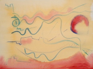 Watercolor Step 1: blue lines with small brush; indian yellow wash, red highlights