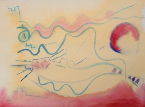 Watercolor Step 1: blue lines with small brush; indian yellow wash, red highlights, more details