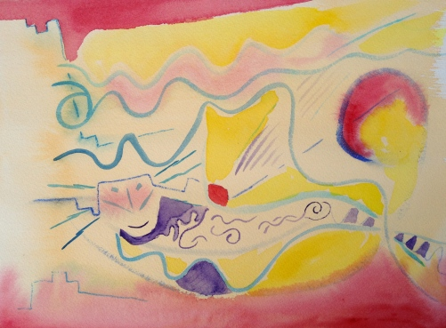 Watercolor Step 1: blue lines with small brush; indian yellow wash, red highlights, purple details