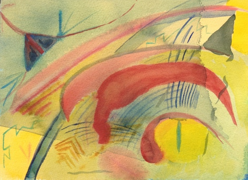Watercolor - Abstract: Yellow upper & lower corners; 4 Red arced shape from lower right to upper left; covered by Green wash
