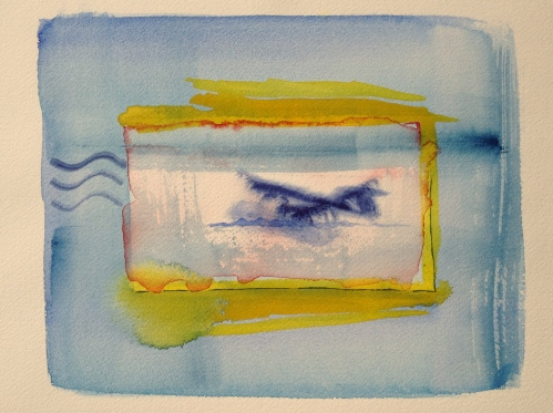 Watercolor: Abstract - Blue square border surrounding a Yellow outlined square with thin Red accent; Blue plane upside down in water at center