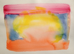 Watercolor: Abstract 92614 stage 1 - Yellow round center, Red top stripe; Orange bottom stripe; Blue sides