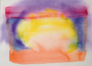Watercolor: Abstract 92614 stage 1 - Yellow round center, Red top stripe; Orange bottom stripe; Blue sides; Purple wash, around Yellow Center