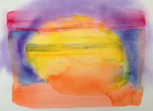 Watercolor: Abstract 92614 stage 1 - Yellow round center, Red top stripe; Orange bottom stripe; Blue sides; Purple wash, around Yellow Center; add stripes in yellow and more orange at bottom