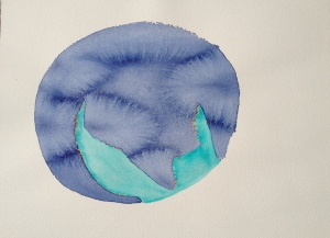 Watercolor: Abstract - Stage of Planet, Dark blue partial circle with Light Blue filling in remainder of circle