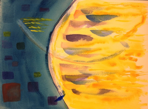 Watercolor: Abstract - Two crossed arcs, blue field to left of vertical arc, yellow field to its right