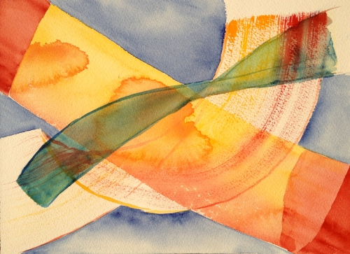 Watercolor: Abstract - Twisted brushstrokes that look like ribbons