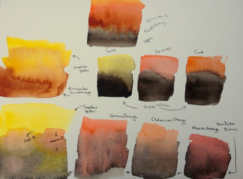 Watercolor: Brown, Yellow, Orange Tests