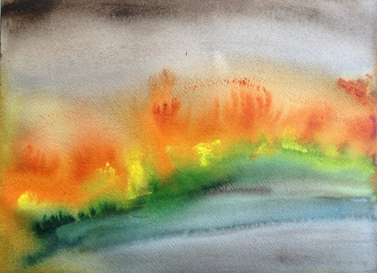 Watercolor: Fire - First Pass