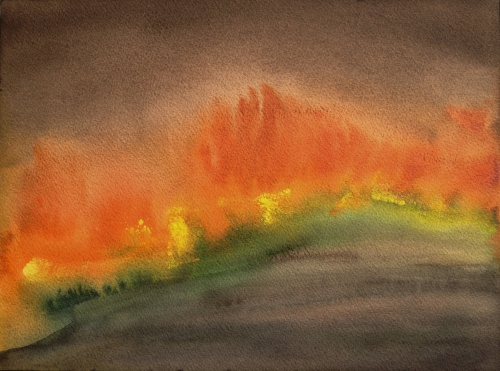 Watercolor: Abstract - Impression of fire, inspired by Maurice Sapiro