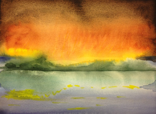 Watercolor: Abstract - Brown, to Orange, to Yellow Sky Reflected in Water