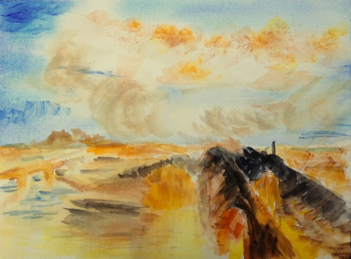 Watercolor: copy of Turner's Rain, Steam and Speed